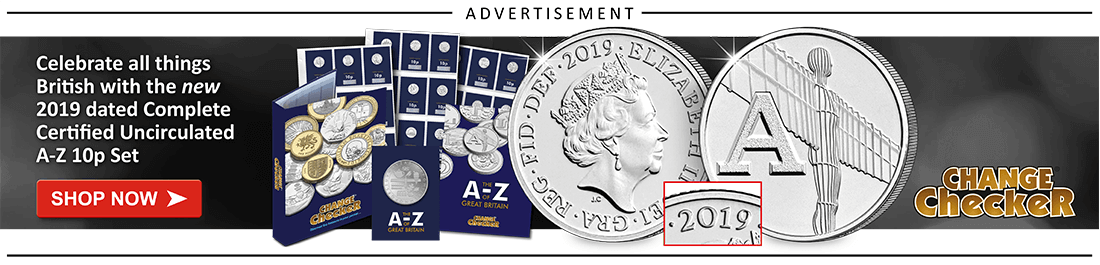 AT Change Checker Blog Ad Banners 2019 A Z 10p 2019 Dated Set 1 - Rarest 50ps Revealed! 2018 Mintage Figure Update