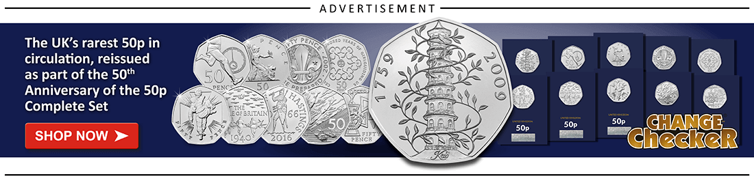 AT Change Checker Blog Ad Banners Complete Anniversary of the 50p Set 1 - A history of UK Remembrance Day coins